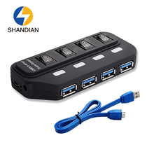 Shandian New Mini 4 Ports LED High Speed USB 3.0 Hub Portable USB Hub Ultra Speed 5Gbps Hub USB Splitter Adapter For PC Laptop