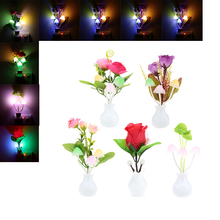 LED Night Light Lamp Colorful Light-Sensored  Mushroom Purple&Red Rose Flower EU/US Plug Energy-Saving for Indoor Decoration