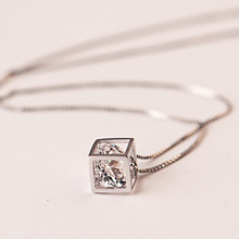 cube chain  Necklace 925 Sterling Silver Jewelry  women accessory gift