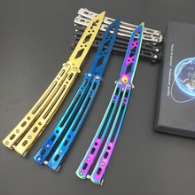Swayboo Mirrored  folding  butterfly knife cs go  trainner balisong butterfly knife dull blade no edge tool butterfly in knife