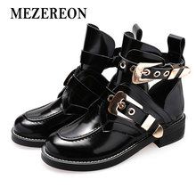 MEZEREON Women Luxury Buckle Boots High Quality Punk Womens Sequined Spring Summer Boots Motorcycle Shoes Black Metal Buckle