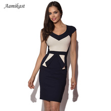 Bodycon Women Dresses Formal New Fashion Elegant Sleeve Hat Patchwork Pencil Party Dresses Size S M L XL XXL(China)
