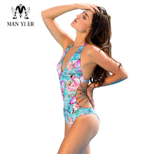 MANYIER Women Swimsuit Swimwear One piece butterfly Print Swim suit Sexy Lace-up Cross Beachwear Women's Floral Swimsuits(China)