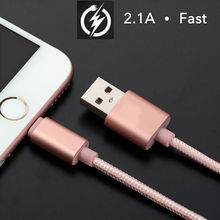 USB Cable 8 pin for iPhone 6 Charger Power Cord Charger Nylon Line Aluminum Wire for iPhone 7 6 5 7s plus 5s 8 iPad Cabo USB(China)