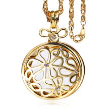 Fashion Flower long chain necklace With 2X Magnifying Glass  Crystal chain necklace Daily Reading Purpose Round Window