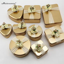 (100 pieces/Lot) Gold Round Square Heart Cat Wedding Party Candy Favor Boxes Birthday Party Gift Boxes(China)