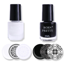 BORN PRETTY 2 Bottles White Black Nail Stamping Polish Manicure Nail Art Print Stamp Varnish Set
