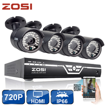 ZOSI 8CH CCTV System 720P HDMI AHD CCTV DVR 4PCS 1.0MP HD IR Night Vision Outdoor Home Security Camera Surveillance System Kit