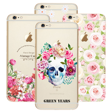Fashion Luxury Flower with Skull Print Design TPU Silicon Cover Shell Capa Phone Cases for Apple iPhone 5C Case