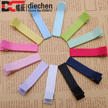 "12pcs 1 7/8"" grosgrain ribbon lined newborn infant baby toddler girls hair clips hairpins hair accessories for children"