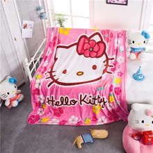 Deep Pink Flower Hello Kitty Prints Blankets Throw Girls Baby Home Bedding Cartoon Polyester Coral Fleece Fabric Twin Queen Size