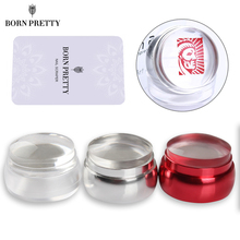 1 Pc Silver Red Metal Stamper Clear Silicone Jelly Nail Stamper Chess Design with Cap & 1 Pc BORN PRETTY Scraper Stamping Tool