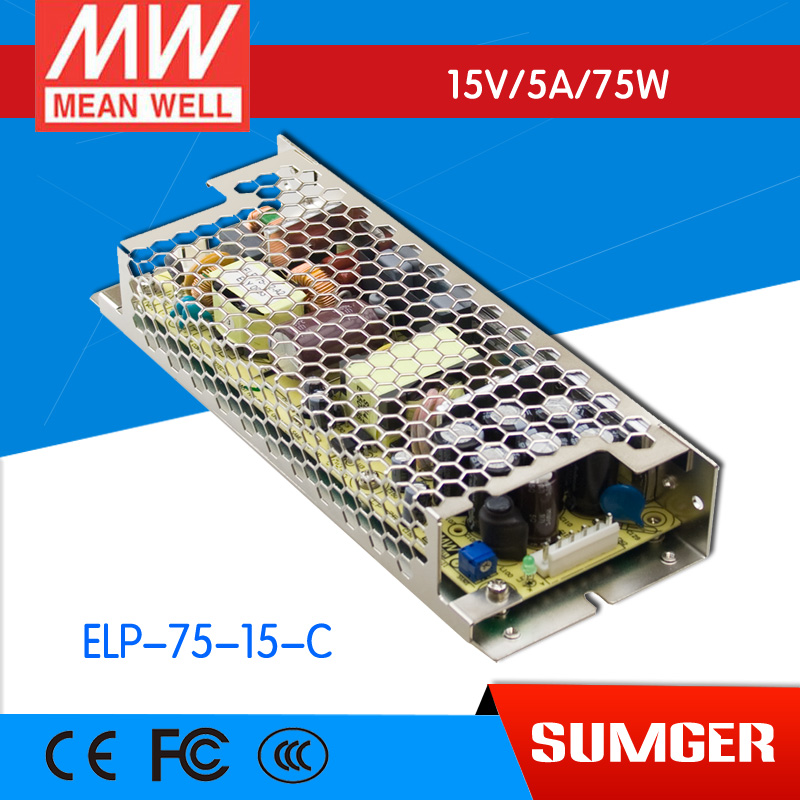 1MEAN WELL original ELP-75-15-C 15V 3.15A meanwell ELP-75 15V 75.6W Single Output Switchina Power Supply Enclosed type<br>
