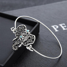 Special Design Women Fashion Jewelry Elephant Head Bracelet Silver-color Personality Circlet Gift Animal Hollow Out BS616