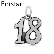 20pcs/lot 17X25mm 18 Anniversary Celebration Numbers Charms Stainless Steel 18 Year Old Gift Charm(China)