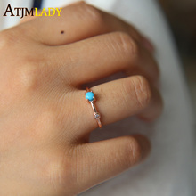 2017 New Direct Selling Anillos High Quality Rose Turquoises Thin Band Fashion Simple Design Circle Delicate Women Girl Ring(China)