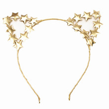 Girls Children Cute Cat Ears Hairbands Personality Star Animal  Halloween Christmas Ear Headbands Gold Silver Hair Accessories