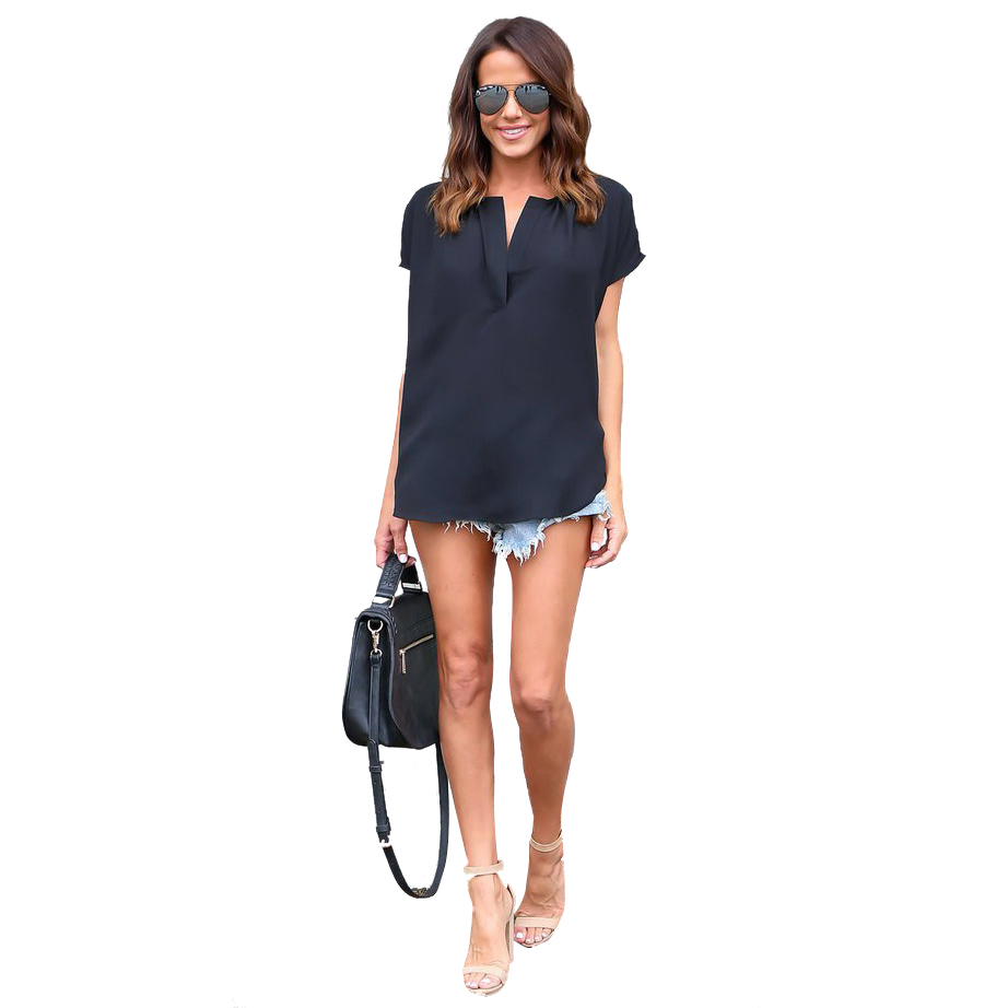 Women Blouses Summer Women Sexy V Neck Short Sleeve Chiffon Tees Shirt Fashion Casual Wild Female Tee Tops(BLACK,S/US~4/UK~8)