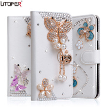 Rhinestone Diamond Cover For Huawei P8 Lite 2017 Case Coque P9 Lite 2017 Wallet Stand Flip PU Leather Phone Bag For Honor 8 Lite(China)