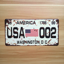 "Direct selling XDCP-305 Vintage license plate ""USA 002"" Tin signs tinplate metal painting for bar decoration wallpaper 15x30 CM"