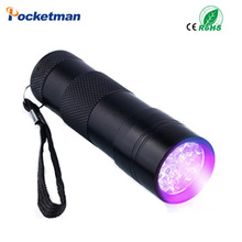2017 New 9LED Aluminum UV Light Ultra Violet Flashlight Fluorescent Detection Torch Light 3AAA