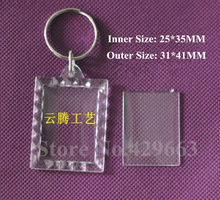 Free shipping 3pcs/lot Mini Rectangular lace Transparent Blank Insert Photo Picture Frame Key Ring Split keychain