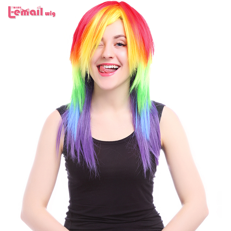 L-email Wig My Little Pony Rainbow Cosplay Wigs Long Straight Synthetic Wig Cosplay Wigs Peruca<br><br>Aliexpress