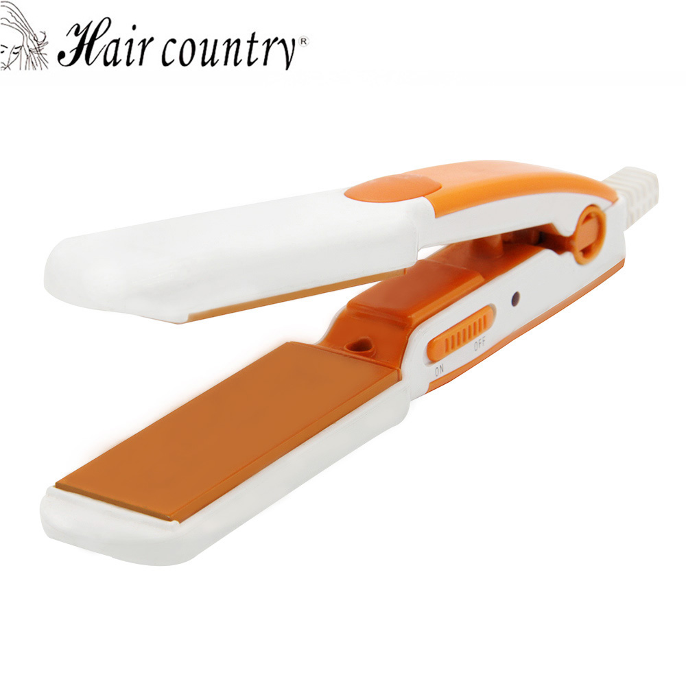 Hair Country Professional Mini Travel Heating Iron Hair Straightener Styling Tools With Fast Warm-up Thermal Performance<br>