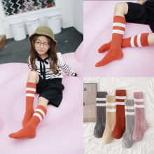 Age1-10T Baby Girls Boys Kids Knee High Socks Two White Streak Stripes Thick Lines Cotton Grey Red Pink khaki Classic Style Gift