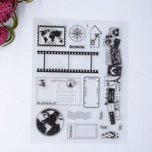 2016 World Map Kids new Scrapbook DIY Photo Album Account Transparent Silicone Rubber Clear Stamps