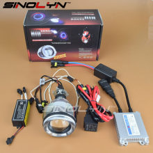 SINOLYN 2.3'' Motorcycle Headlight CCFL Angel Eyes Devil Eyes Halo HID Bi-xenon Projector Lens Retrofit Lamp Kit DIY