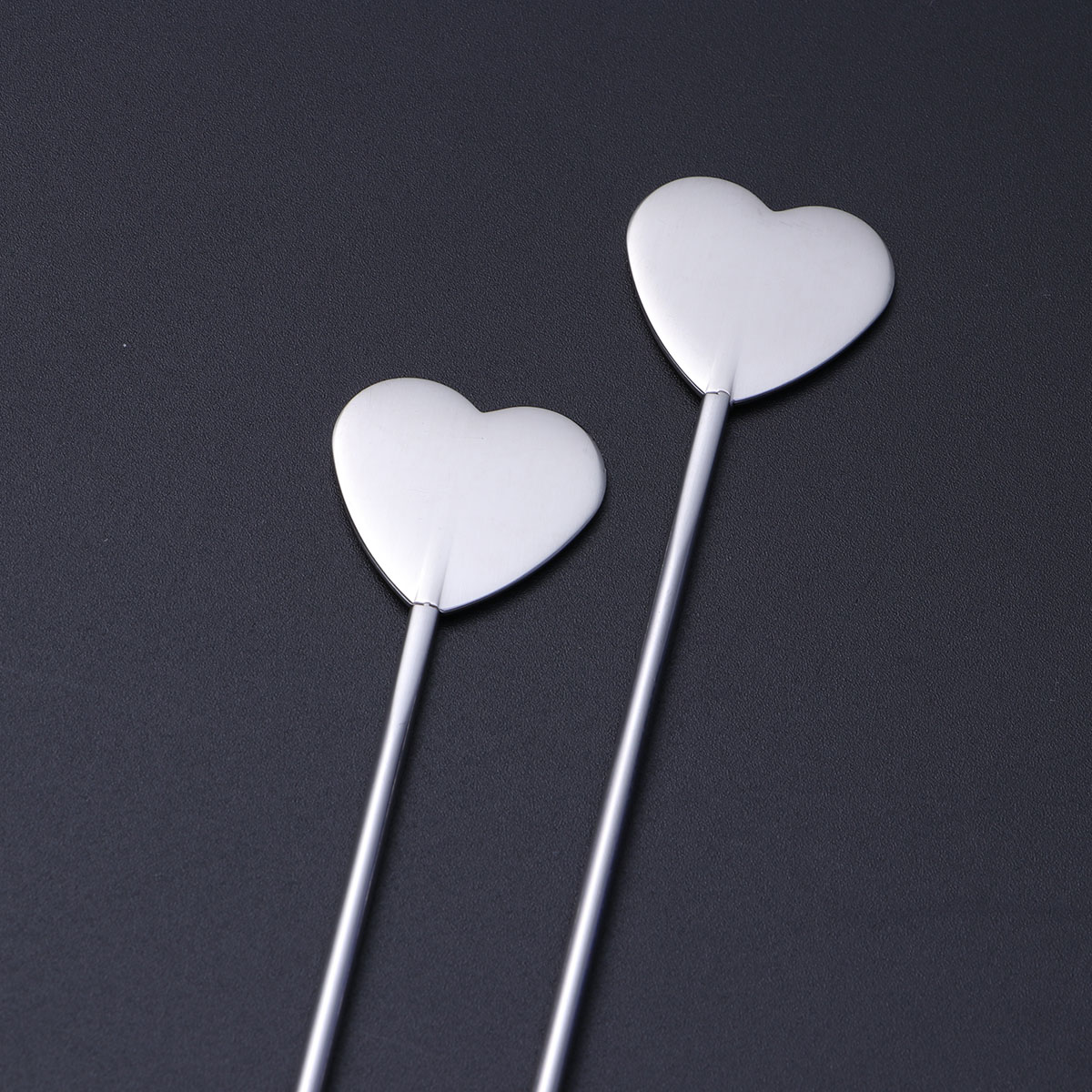 5 Pcs Stainless Steel Heart-shaped and Round Bead Cocktail Pick Set Fruit Stick