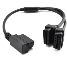 Professional External ODB2 ODB II Splitter Extension Y 16 Pin Cable Male to Dual Female Adapter(China)