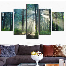 Painting On Canvas Wall Art Frame Home Decor HD Printed Pictures 5 Panel Sunshine Forests Natural Landscape Trees Poster PENGDA