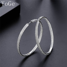 YoGe E61023C Luxury AAA cubic zirconia micro pave setting big 6cm diameter hoop earrings women's accessories, best quality(China)