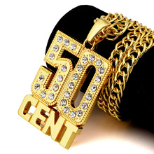 Vintage hip hop crystal 50 CENT Pendant Necklace men women Fashion gold/silver plated jewelry Christmas gifts punk party N133