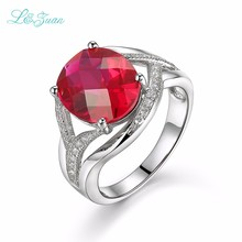 I&zuan Gorgeous Halo Big Oval Red Ruby Prong Setting Anel Feminino 925 sterling-silver-jewelry for Woman Wedding Ring