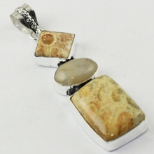 Fosil Coral & Rutile Pendant Silver Overlay over Copper ,76 mm, P1673(China)