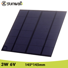 SUNWALK 6V 3W 500mA Polycrystalline silicon Mini Solar Panel module Cell for Charger DC Battery DIY 145*145mm(China)