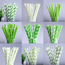 25pcs/lot Green Theme Paper Straws Happy Birthday Wedding Decorative Event Party Supplies Environmental Flamingo Drinking Straws