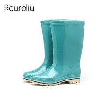 Rouroliu Women Solid Color Mid-Calf Rain Boots PVC Waterproof Water Shoes Wellies Comfortable Non-Slip Rainboots Woman RT353(China)