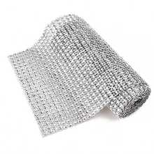 Silver Wedding Event Party Diamond Mesh Wrap Roll Sparkle Rhinestone Sparkle Crystal Ribbon Party Decor(China)