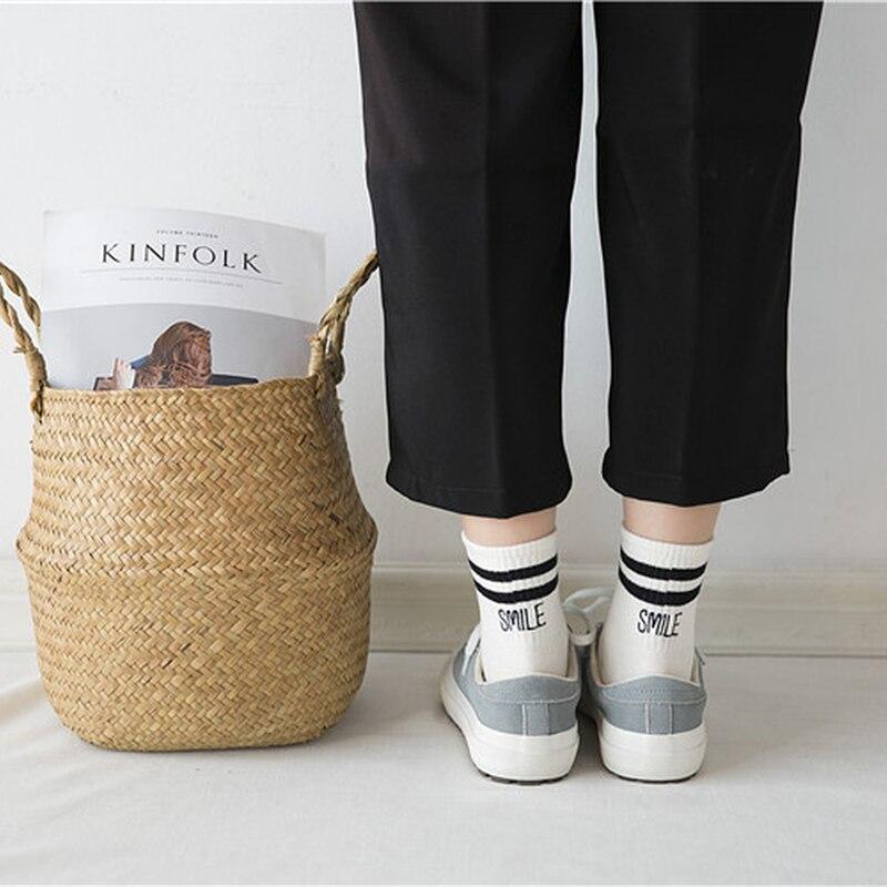 2018 Classic Girls 2 Two Striped Smile Cotton Crew Socks Retro Old
