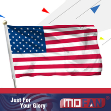 MOFAN 3x5 Foot American US Flag - Canvas Header and Double Stitched - USA Flags Polyester with Brass Grommets 3 X 5 Ft(China)