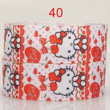 "free shipping 50 yards 1 "" 25mm heart cute red hello kitty printed grosgrain tape cartoon ribbon DIY hairbow"