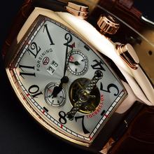 Forsining Tonneau Automatic Man Watches Men Luxury Brand Date Month Flying Tourbillon Watches Men Mechanical Watch Montre Homme