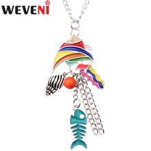 WEVENI Statement Enamel Sea Fish Conch Long Necklace Pendants Chain Collar Fashion Women Accessories OCEAN COLLECTION Jewelry(China)