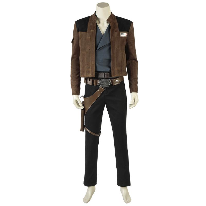 Han Solo Costume Cosplay Jacket Solo A Star Wars Story Cosplay Coat Pants Props Superhero Halloween Adult Men Outfit  in Stock