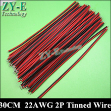 30PCS/lot 30cm 22AWG LED cable 2pins led wire Red black thinned copper extend wire for 3528 5050 strip light LED Free shipping