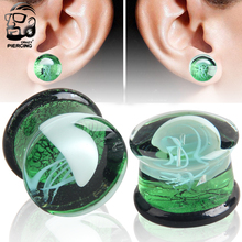 Glass Plugs and Tunnels 8mm-16mm Green Translucent Earring Gauges White Jellyfish Logo Ear  Stretcher Body Piercing Jewelry